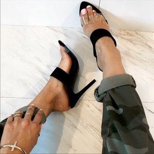Black Double Band Heels